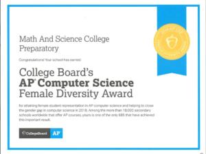 MSCP Honored with AP CS Female Award